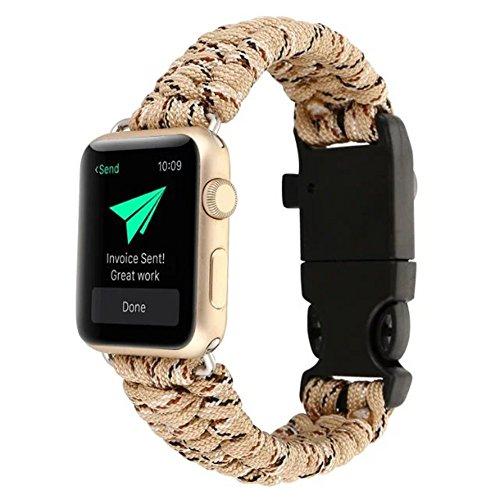 Für Apple Watch Serie 1/2 42mm, 2017 Neue YOUMI High Strength Nylon Seil Armband Uhr Ersatz Strap Band mit Kompass (Khaki) (Strap Nylon Khaki)