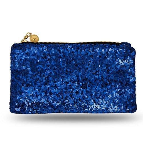 Lady Donovan - Clutch - Edle Abendtasche für Damen und Mädchen - Portemonnaie mit Reißverschluß - ideal für die Party oder Hochzeit - glitzernd - Royalblau (Mädchen Handtasche Satin)