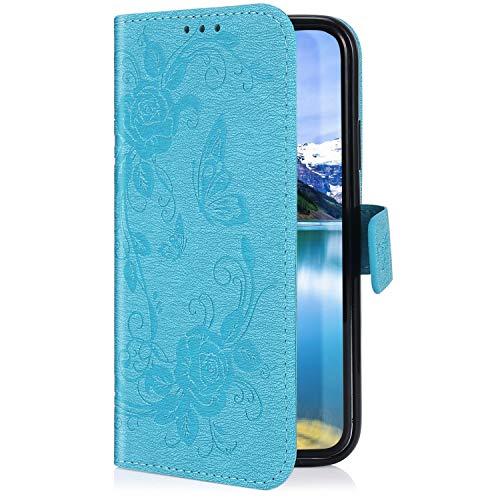 Uposao Kompatibel mit Samsung Galaxy A5 2016 Hülle Handytasche Handyhülle Schmetterling Rose Blumen Muster Klapphülle Flip Case Cover Schutzhülle Lederhülle Brieftasche Leder Tasche,Blau