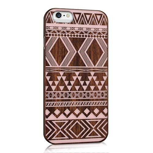 kwmobile Hülle für Apple iPhone 6 / 6S - Case Handy Schutzhülle Kirschholz auf Kunststoff - Hardcase Cover Kompass Design Hellbraun Aztec Muster Rosa Braun