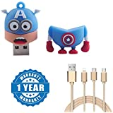 Captcha Super Heroes 8GB USB 2.0 USB Flash Drive High Running Speed Cartoon Pen Drive With Fiber 3 In 1 USB Charging Cable With 8 Pin Lightning, USB Type C, Micro USB Charging Cable Compatible With Xiaomi, Lenovo, Apple, Samsung, Sony, Oppo, Gionee, Vivo