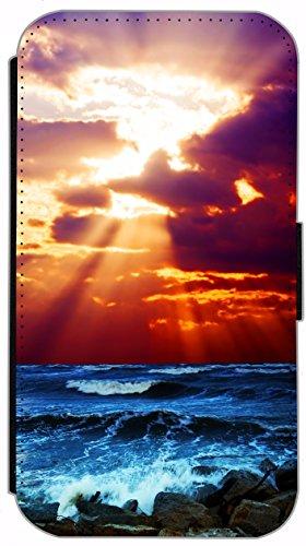 FioMi Flip Cover Schutz Hülle Handy Tasche Etui Case für (Apple iPhone 5 / 5s, 735 Schildkröte Blau Gelb) 738 Wellen Sonnenuntergang Blau Orange Lila