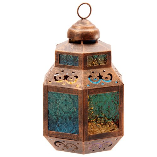 Moroccan Style Lantern with Coloured Glass & Fretwork by Puckator