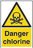 vsafety Schilder 6a017au-s Gefahr Chlor Achtung Substanz und chemischen Schild, selbstklebend, Portrait, 200mm x 300mm, schwarz/gelb