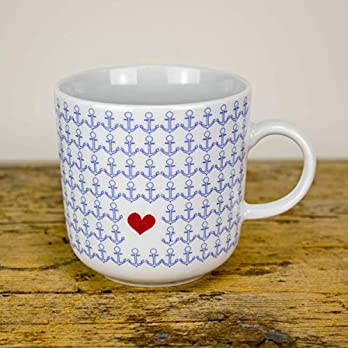 Kaffeebecher – Maritime Liebes Grüße zum Valentinstag – Porzellan-Tasse Handmade von Ahoi Marie