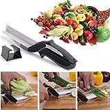 2 In 1 Clever Cutter Kitchen Vegetable Cutting Knife Scissor