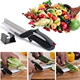 2 In 1 Clever Cutter Kitchen Vegetable Cutting Knife Scissor