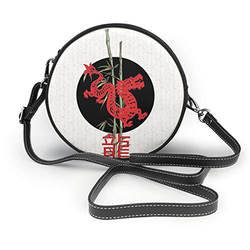 Dragon (chinesisches Tierkreis) Schultertasche rund Crossbody Handtasche für Frauen Mädchen -