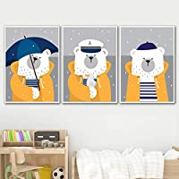 ASDZXC Navy Umbrella Rain Kindergarten Art Prints Posters And Wall Art Prints Canvas Painting Wall Pictures Baby Kids Room Decor