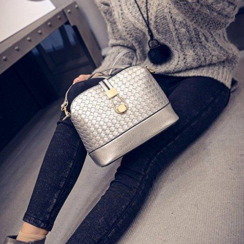 Contever® Fashion Schultertasche Shoulder Bag Handtasche Stil für Damen 23 cm(L)*10 cm(T)*18 cm(H) (Weiß) Silbrig