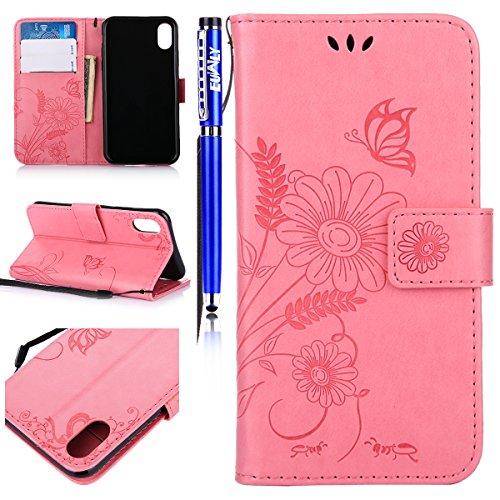 EUWLY Custodia In Pelle Per iPhone X, Retro Fiore farfalla Modello Design  Cover Wallet Case Custodia In Pelle Portafoglio Lusso Libro Flip Cover  Protettiva ...