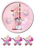 'Baby 1 Jahr rosa ' Tortenaufleger,Geburtstag,Tortendeko