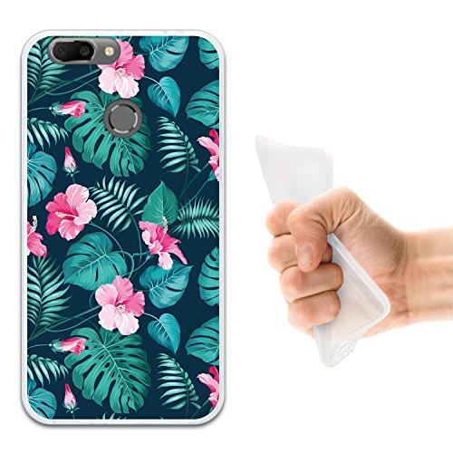 WoowCase Oukitel U20 Plus Hülle, Handyhülle Silikon für [ Oukitel U20 Plus ] Tropische Blumen 2 Handytasche Handy Cover Case Schutzhülle Flexible TPU - Transparent