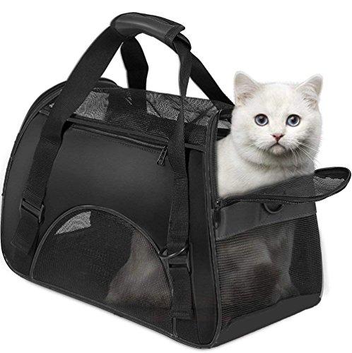 Vicstar Hundetragetasche, Hundetasche, Katzentragetasche, Tragetasche Transportbox, Oxford Tuch + Atmungsaktiv Netzfenster Transporttasche für Kleine Hunde und Katzen, Meistens 4 KG