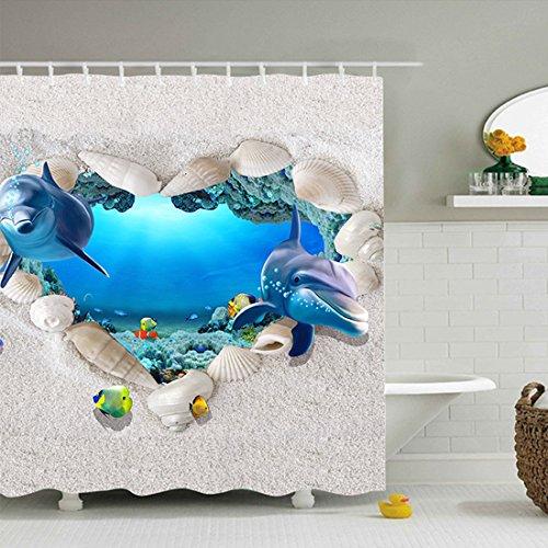 Antimykotische Behandlung Der Haut (GWELL 3D Muster Duschvorhang Wasserdicht Hochwertige Qualität Anti-Schimmel mit 12 Duschvorhangringe für Badezimmer Delphin 180x210cm)