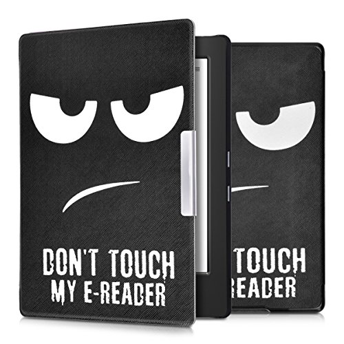 kwmobile Elegante borsa di ecopelle per il Kobo Aura H2O in Design Don't touch my E-Reader bianco nero