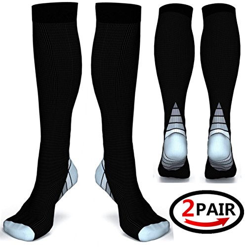 (2 pairs)Compression Socks / Stockings for Men & Women,Better Blood Circulation, Prevent Blood Clots, Boost Stamina,Circulation, Reduced Fatigue,Speed Up Recovery BEST Graduated Athletic Fit for Runni (Black & Grey S/M (UK Women 4-6.5 / Men 4-8) 2 PAIR)