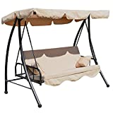 Outsunny 3 Seater Outdoor Garden Patio Swing Chair Swinging Hammock Canopy Cushioned Bench Bed Seat - Beige