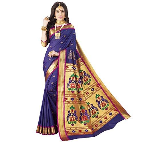 Craftsvilla Women's Art Silk Traditional Zari Border Blue Saree with Blouse Piece