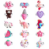 Defrsk 15PCS Adjustable Rings for Girls Colorful Cute for Unicorn Rings for Kids Flower Heart Butterfly Shape Gift for Girls