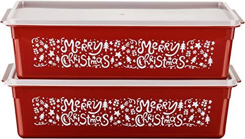 MiraHome Keksdosen Plätzchendose 2er Set rechteckig 5l rot mit Merry Christmas-Design Austrian Quality