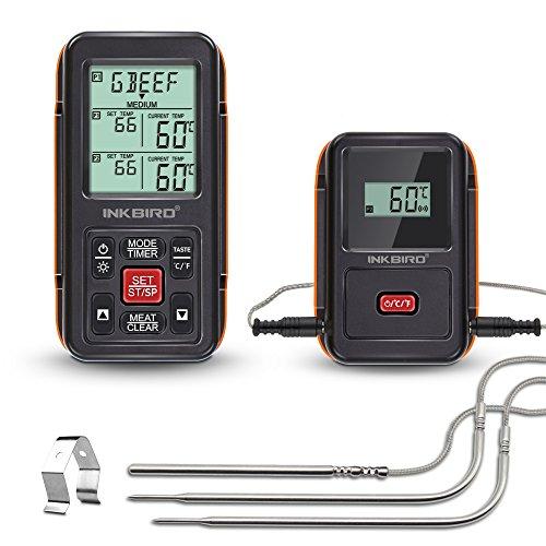 inkbird Digital Wireless Fernbedienung Lebensmittel Kochen Fleisch BBQ Thermometer für Ofen Rauchen Grillen, 1000Füße Serie