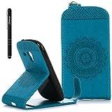 Galaxy S3 Mini Hülle Blau,Slynmax Mandala Flip Hülle Schutzhülle für Samsung Galaxy S3 Mini Tasche Wallet Leder Brieftasche Stoßfest Bumper Handyhülle Ständer Kartenfächer Magnetverschluss Shell