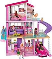 Barbie FHY73 Dreamhouse Domek Dla Lalek z 3 Piętrami, 8 Pokoi, ze Światełkami i Dźwiękami, 116 cm, Wielokoloro