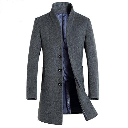 iBaste Herren Wollmantel Elegante Wintermantel Winterjacke Winter Herbst Jacket Herren Mantel Jacke Männer Parka Trenchcoat Stehkragen Grau 2XL
