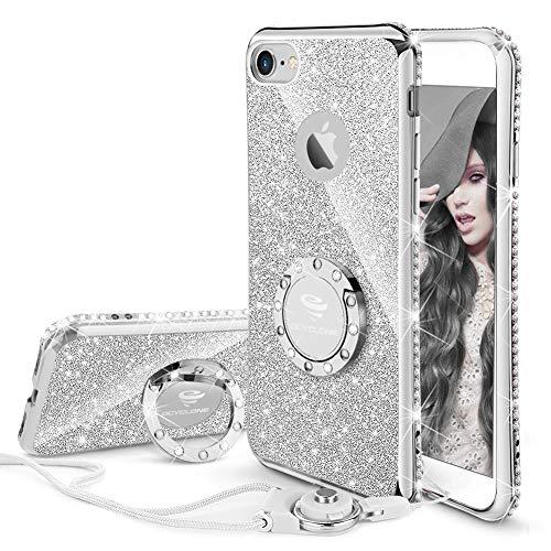 lus Hülle, Silber Glitzer Handy Hülle 6 Plus Schutzhülle mit Ring 360 Grad Ständer Silikon Diamant Glitzer Case für Frauen Mädchen iPhone 6 Plus / 6S Plus Hülle - 5,5 Zoll ()