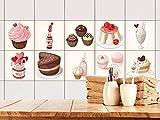 GRAZDesign 770504_15x15_FS10st Fliesenaufkleber Küche Braun mit Muffins | Fliesenbild aus selbstklebender Folie | selbst gestalten | wieder ablösbar - für rechteckige Fliesen (15x15cm // Set 10 Stück)