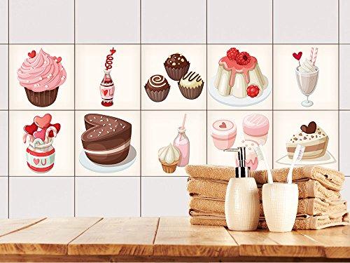 GRAZDesign 770504_15x15_FS20st Fliesenaufkleber Küche Braun mit Muffins | Fliesenbild aus selbstklebender Folie | selbst gestalten | wieder ablösbar - für rechteckige Fliesen (15x15cm // Set 20 Stück)