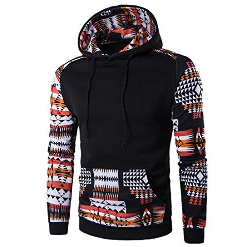 Sannysis Herren Retro Langarm Kapuzenpullover Kapuzenshirt mit Kapuze Sweatshirt Jacken Mantel (M, Schwarz)