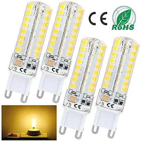 Liqoo® Lámpara 4x G9 6W LED 480Lumen Reemplaza 45W lámparas lámpara ahorro de energía Sustituye 3000K blanco cálido, blanco frío 6000K, Ø16 x 60mm, 72x SMD 2835, AC220-240V