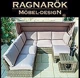 Ragnarök-Möbeldesign PolyRattan Lounge - Deutsche Marke - eigene Produktion - 8 Jahre Garantie auf UV Beständig - Garten Möbel Sonneninsel Gartenmuschel Strandkorb Faltdach