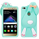 P8 Lite 2017 Funda de Silicona Suave 3D Patrón Diseño Dibujos Animados de Conejito Case Cover, Vandot Conejo en forma Lindo y Elástico Rubber Funda Cartoon Buck Teeth Bunny Rabbit Carcasa Protectora para Móvil Huawei P8 Lite 2017 / P9 Lite 2017 / Huawei Nova Lite / Honor 8 Lite - Color Verde