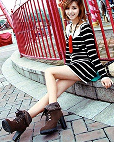 Minetom Donna Inverno Stivaletti Tacco Alto Stivali Stringate Scarpe Martin Boots Stivali Corti Marrone