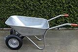 S + S carretilla 2ruedas, galvanizado, 120kg, para obras, jardines y Establo, muy plano, neumático de aire