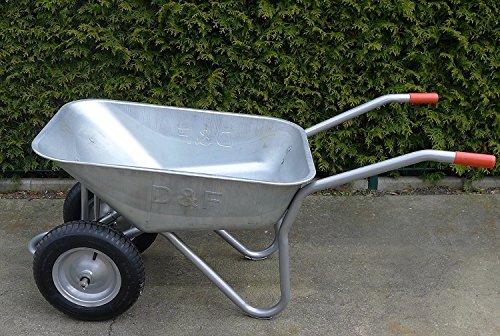 S + S 2roue de brouette Galvanisé 120kg, pour la construction, jardin et Clapier, Très plat, Air bereift