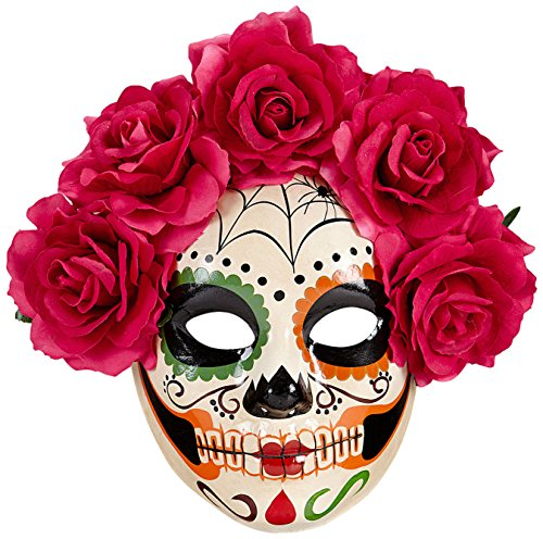Of The Dead Half Face Mask W/Roses Halloween Fancy Dress Accessory (Cinco De Mayo Spiele)