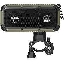 Zinsoko Z-S01 Bluetooth Inalámbrico Altavoz para Exterior Bicicleta (Impermeable IP66, NFC, Sonido HiFi, Recargable 1000mAh, Linterna LED, Compatible con Smartphone Tablet PC) (Verde Militar)