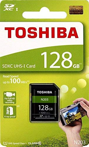 Toshiba 128gb n203sdxc uhs-i u1classe 10scheda sd memory card 100mb/s (thn-n203n1280a4)