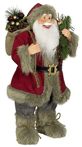 Weihnachtsmann Santa Nikolaus Axel mit schönem Gesicht und vielen Details / Größe ca.60cm / roter Fellmantel, rote Fellmütze, graue Hose, Fellstiefel - Trendyshop365