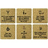 Eco Corner - Bar Fun - Coasters - Set Of 6 / Premium Quality CORK / Rounded Corners / Screen Print