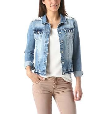 Promod Veste en jean dentelle femme Jean moyen 40