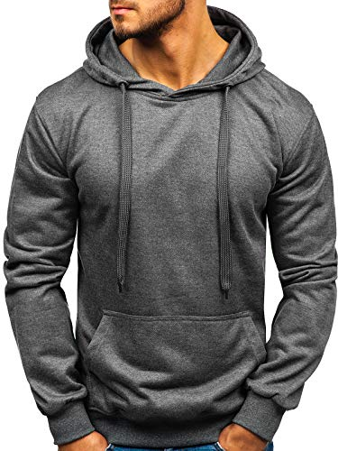 BOLF Herren Kapuzenpullover Sweatshirt Basic Sport Style Casual Style J.Style 22002 Dunkelgrau M [1A1] -