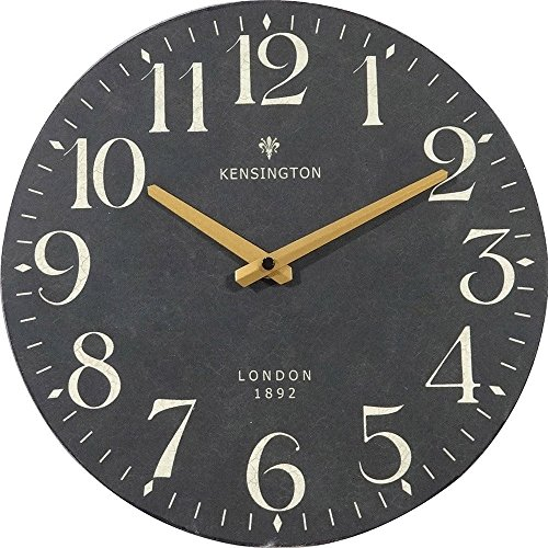 Nikky home orologio da parete muro vintage quarzo silenzioso decorazioni soggiorno camera da letto casa, regalo originale natale compleanno diametro 30cm legno nero