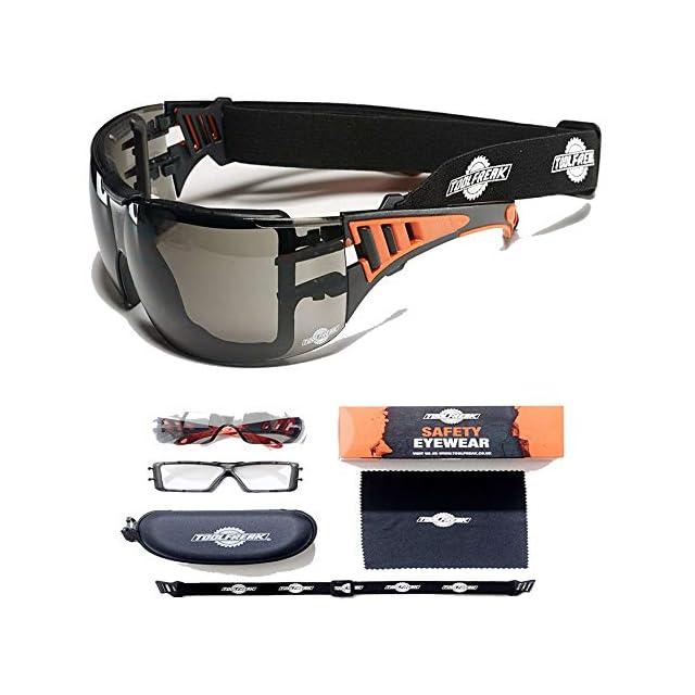 94a96a364aea81 ToolFreak Lunettes de sécurité de style sportif avec rembourrage en mousse  pour hommes et femmes ...