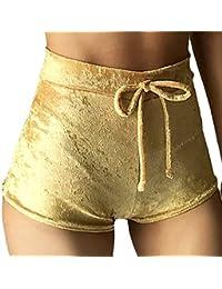 TININNA Mujer Terciopelo Pantalones Cortos Vintage Cortocircuitos Calientes Moda Cintura Alta Shorts