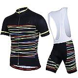 GWELL Herren Fahrradbekleidung Set Große Größen Trikot Kurzarm + Trägerhose mit Sitzpolster schwarz L